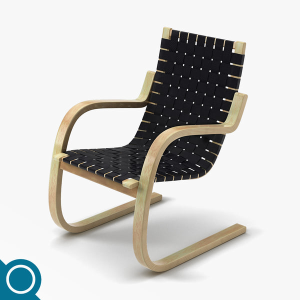 alvar aalto 406 chair designer 3d model