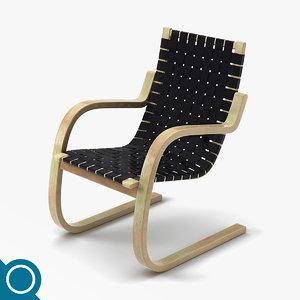 alvar aalto 406 chair designer 3d model