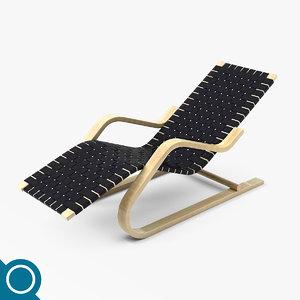 alvar aalto 43 lounge chair 3d model