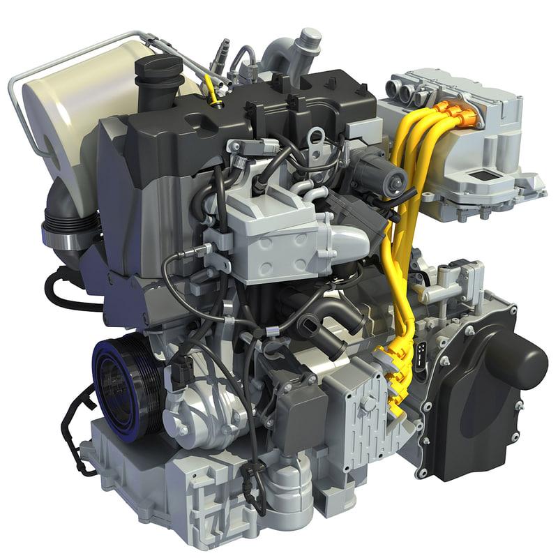volkswagen xl1 engine 3d model