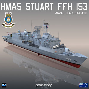 3d anzac class frigate hmas model