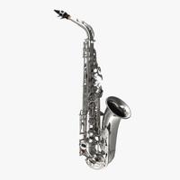 silver saxophone 3d max
