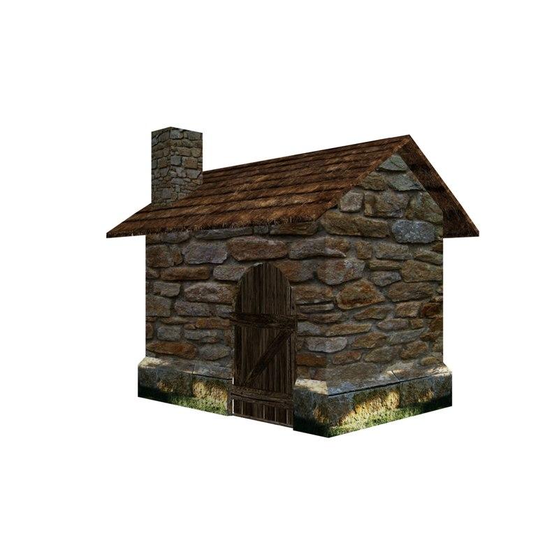 3d obj shack ready stone
