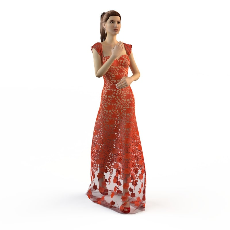 evening wedding dress 3ds