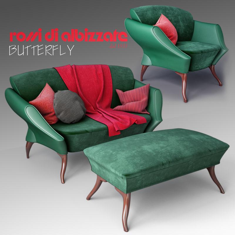 3d model butterfly rossi di