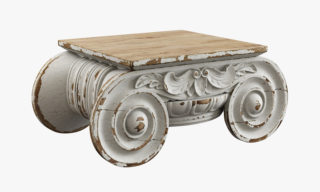 Restoration Hardware Distressed Ionic Capital Coffee Table