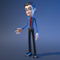 cartoon office character man 3d model