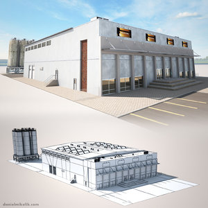 cargo building 3d model