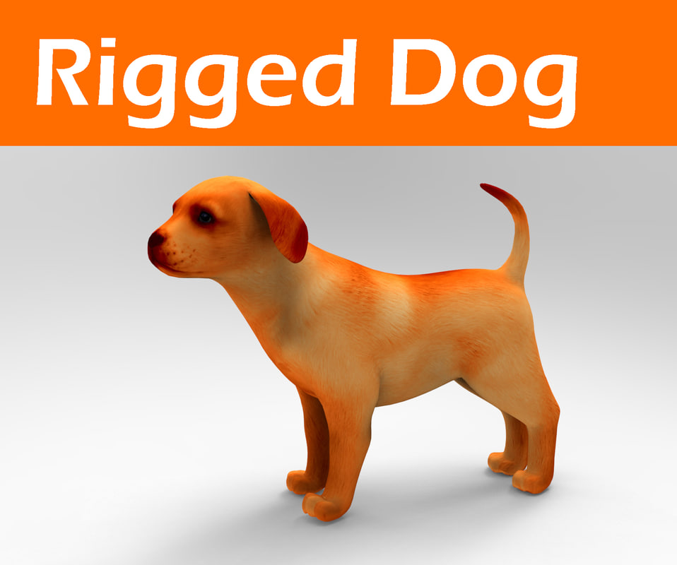 dog rigged 3d 3ds