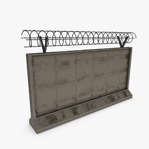 concrete fence 3d 3ds