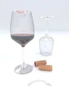 3d model glasses red wine cork