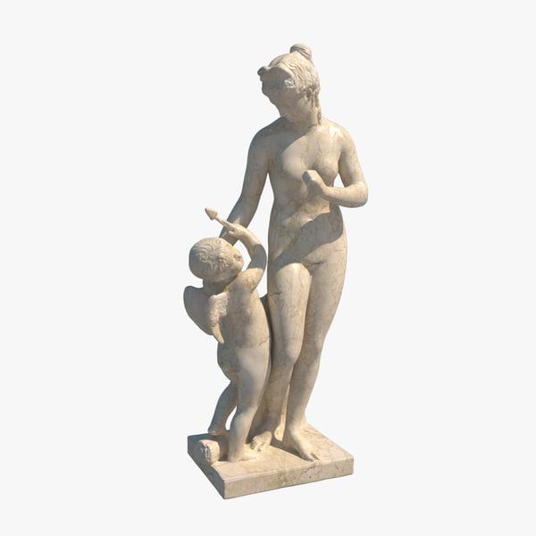 3d model statue venus chiding cupid