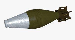 3d model m49a2 60mm explosive mortar