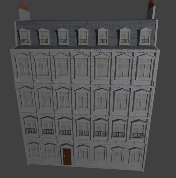 3d old european building