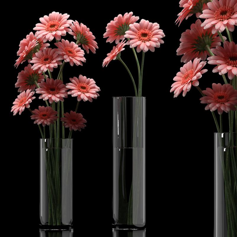 3d model gerbera flower vase