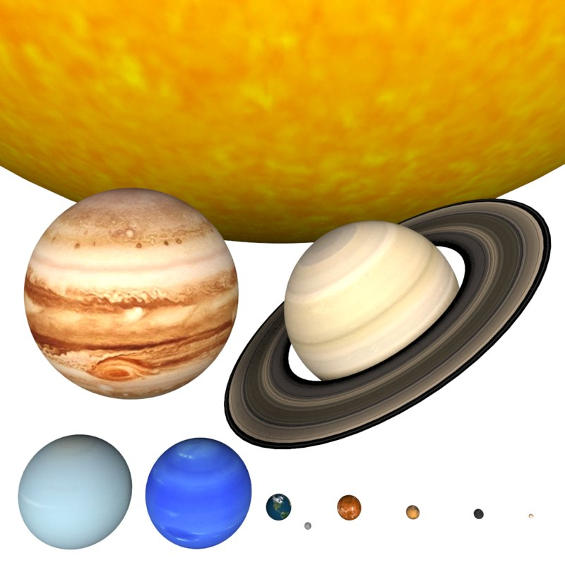 scene solar planets sun 3d max