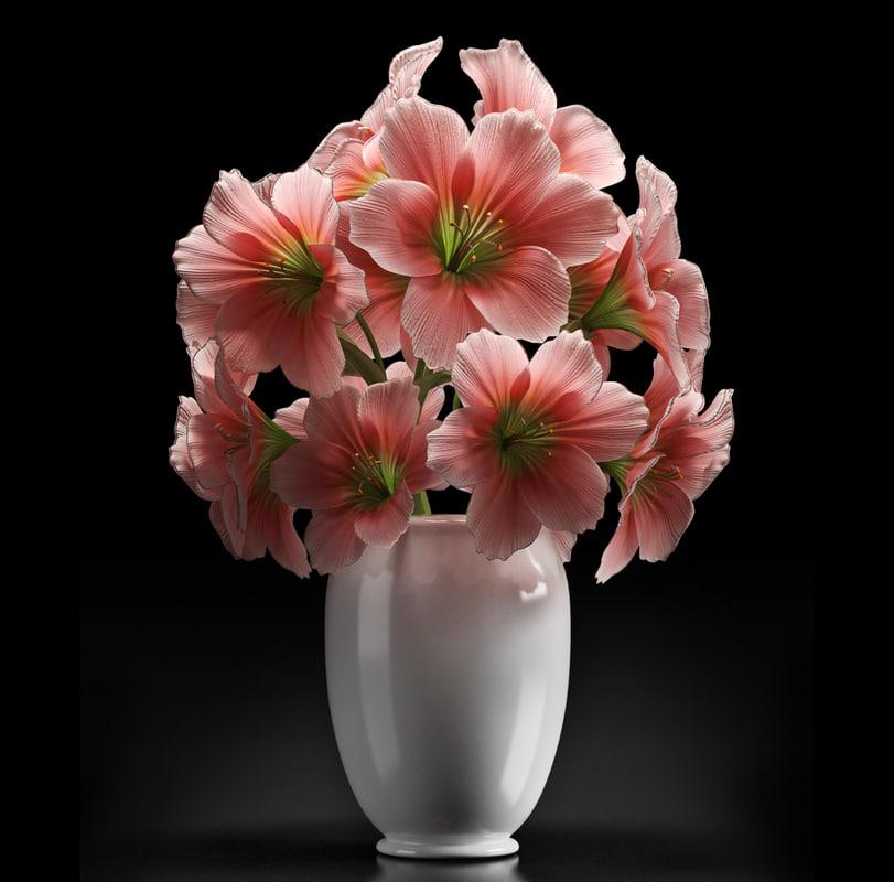 pink amaryllis flower 3d model