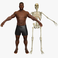 African American Male with Skeleton 3DSmax