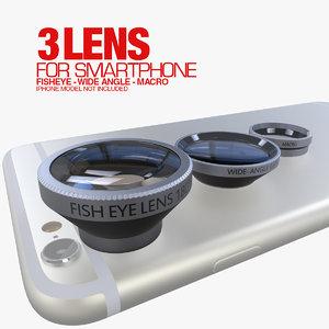 3d 3 lens smartphone model