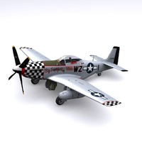 3d p-51 mustang fighter p-51d