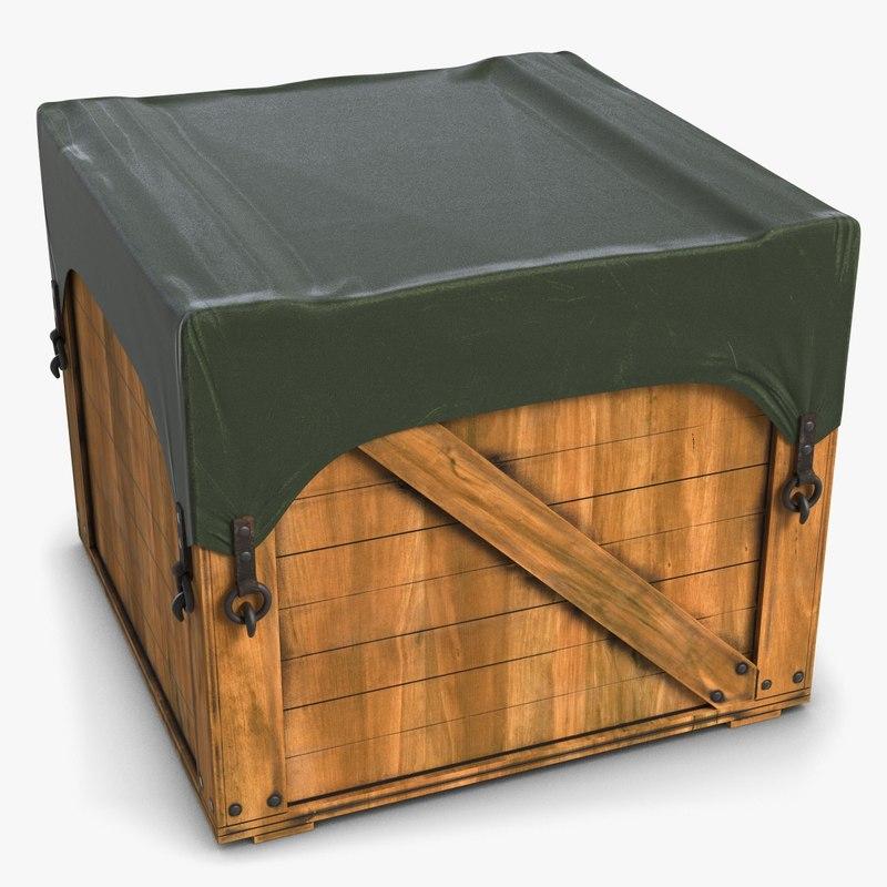 3d model wood box covered