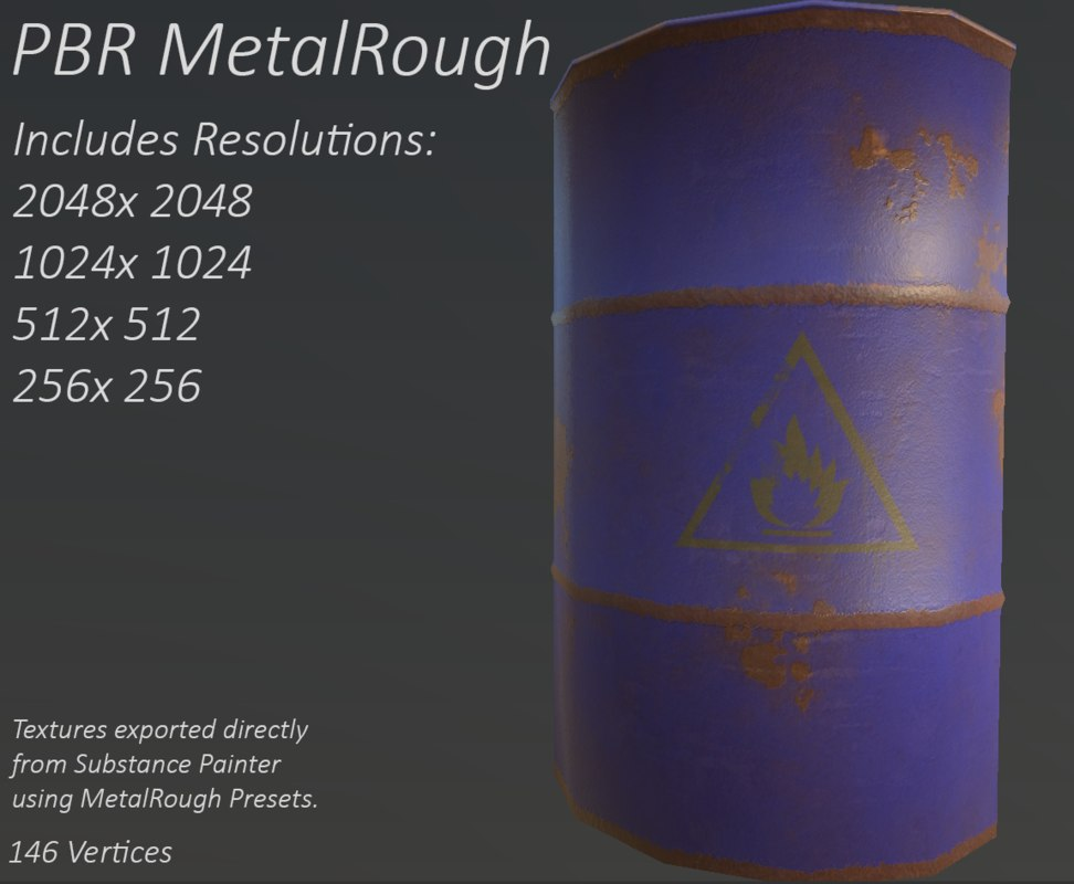 pbr oil barrel 3ds