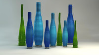 3d model blue designer vases