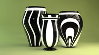 black white vases contemporary c4d