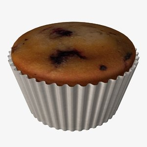 3d model of blueberry muffin