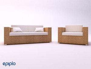 rattan furnitures 3d model