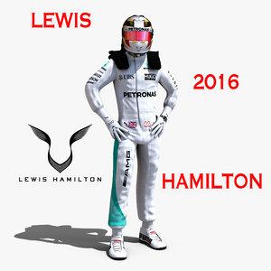3d model lewis hamilton 2016