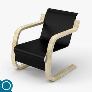 alvar aalto 42 chair designer 3d model