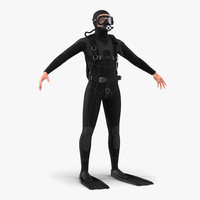 3d diver realistic