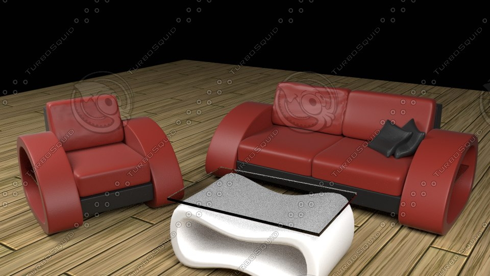 sofa couch modern 3d model