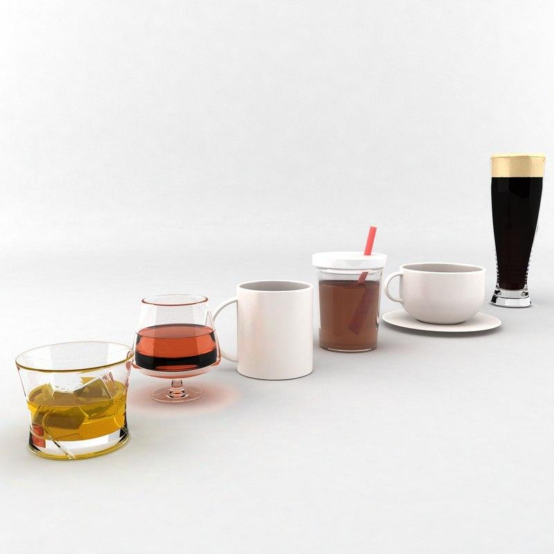 3d glasses cup tea model