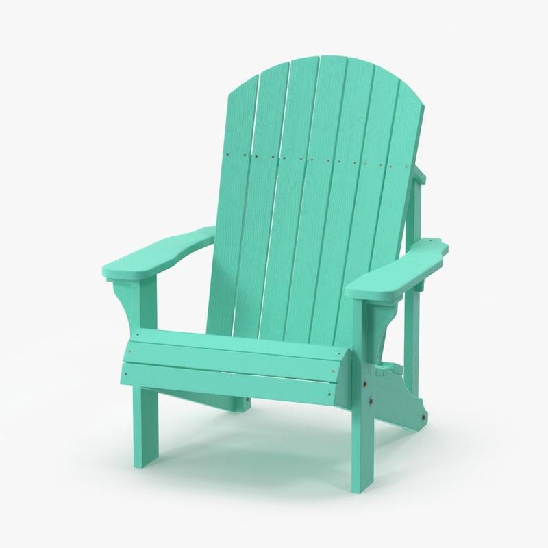 green adirondack chair 3d model