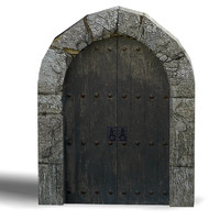 Medieval gate 01  low poly