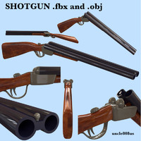 3d model shotgun double barreled