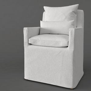 3d model dining armchair fabric