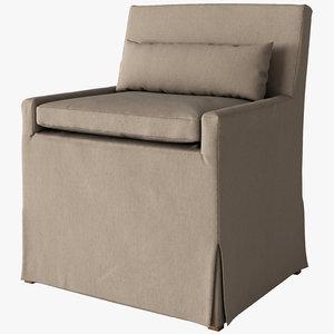 3d model of belgian dining chair slipcover
