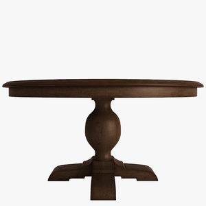 3d model table wood pedestal