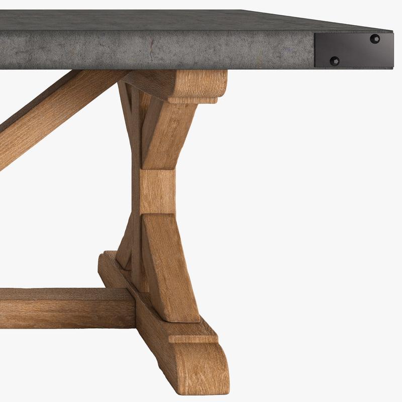 3d model table concrete salvaged