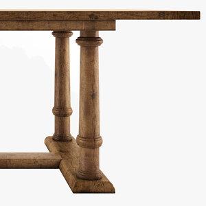 table reclaimed oak columns 3d max