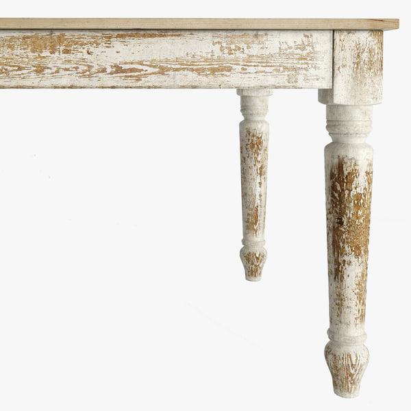 wood table english farmhouse 3d model