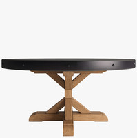 SALVAGED WOOD & CONCRETE X-BASE ROUND DINING TABLE