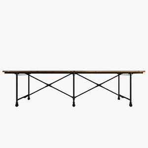3d metal flatiron table rust model