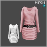 dress belted pink 3d model