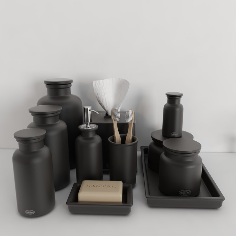 Stoneware bathroom accessories - 3d Model Accessories Flatiron Union Stoneware