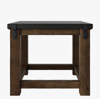 RECLAIMED WOOD & ZINC STRAP SIDE TABLE