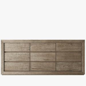 3d model of reclaimed oak dresser
